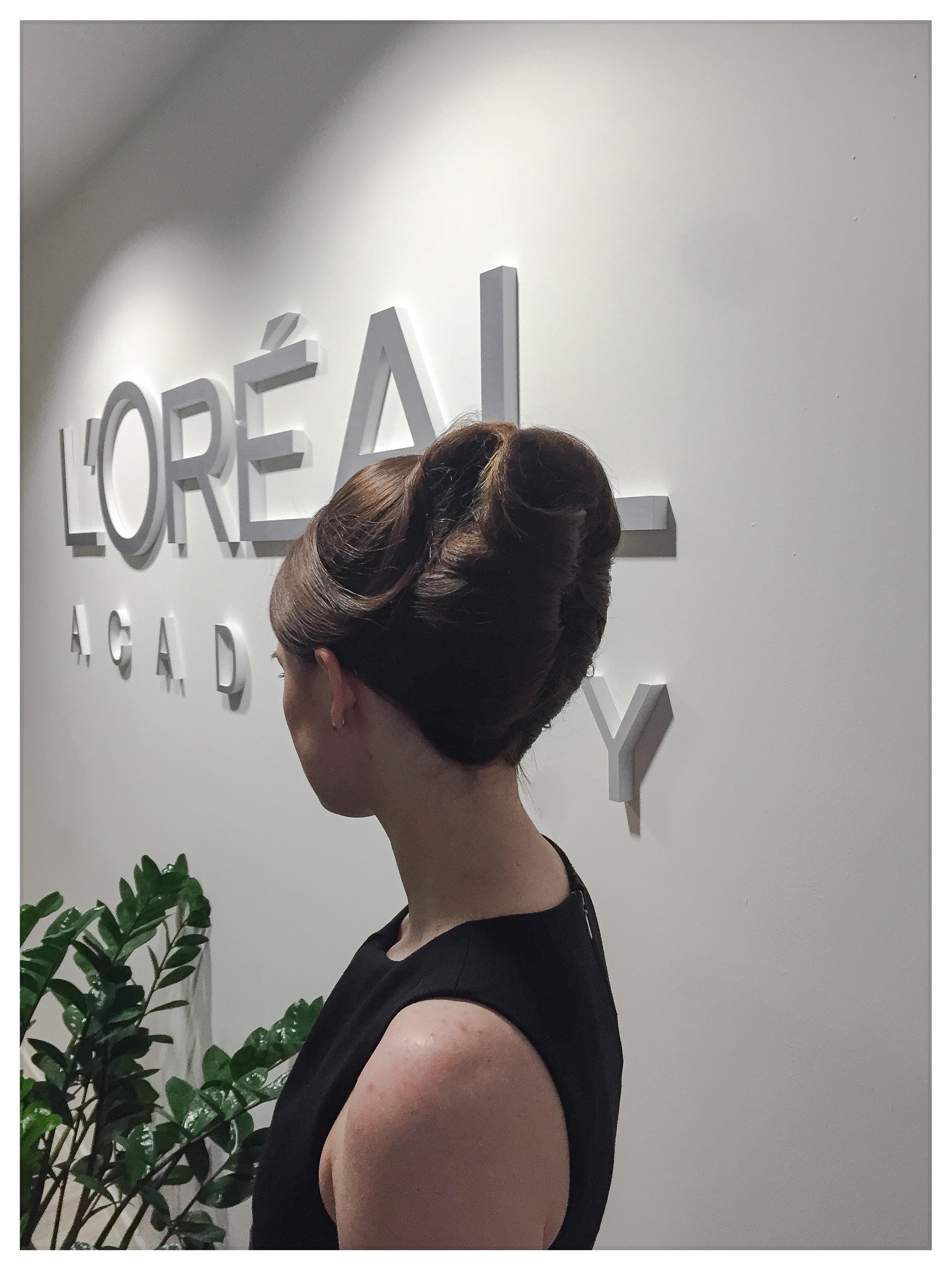 Model with Saks hair-up at L'Oreal