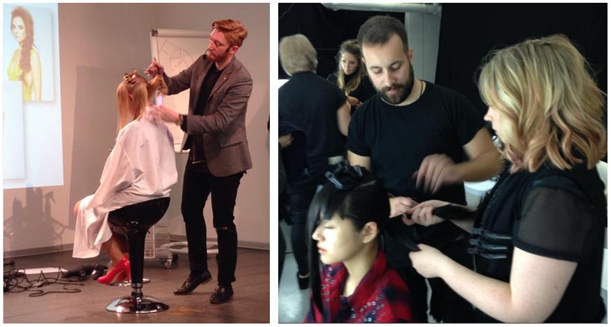 Paul Calledine teaching and James Maher at LFW for Saks