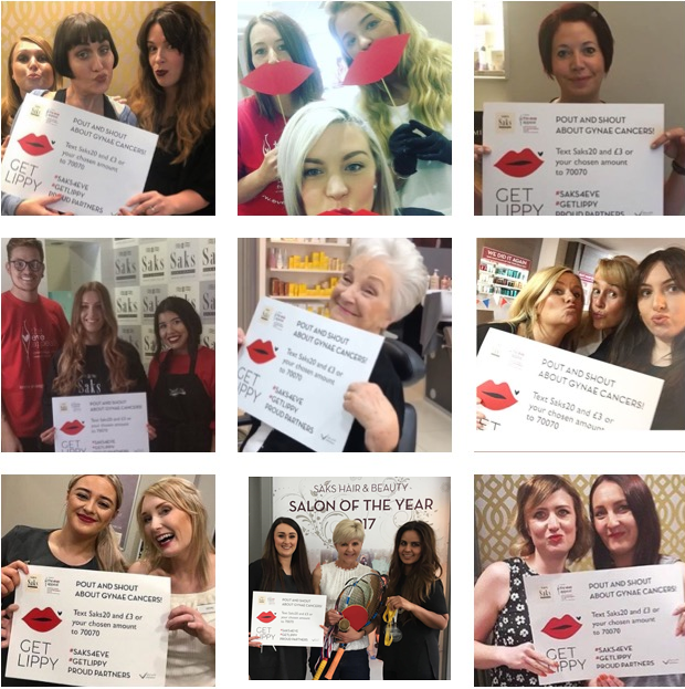 Montage of Saks salon images fundraising