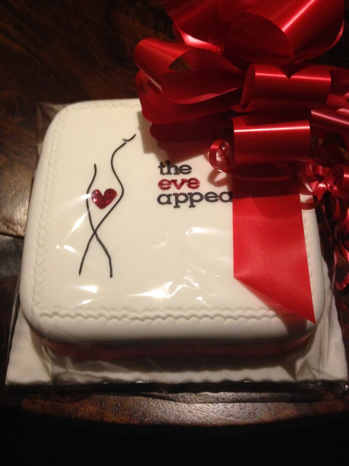 Saks Hexham fundraising cake for The Eve Appeal