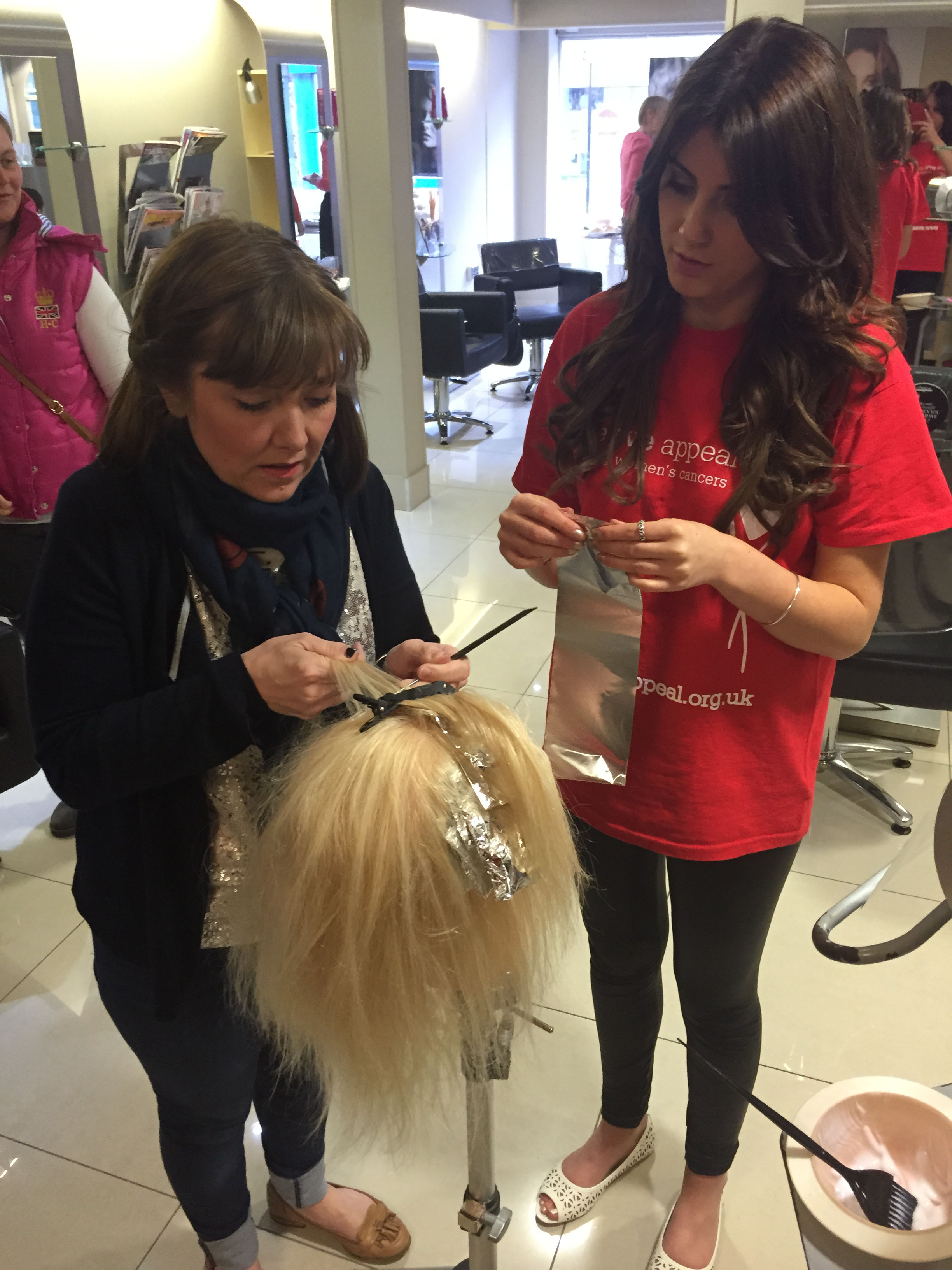 Saks stylist demo hair foil for The Eve Appeal