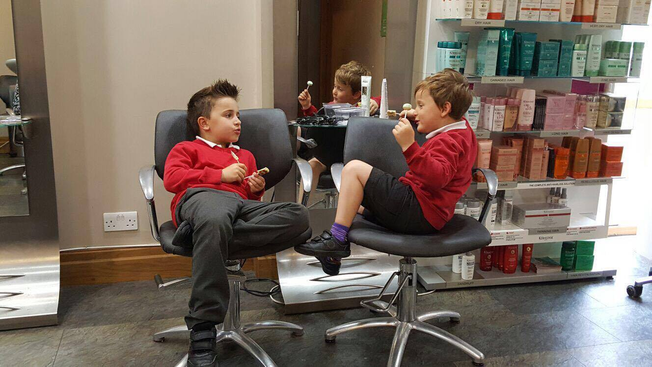 Two kids at Saks Lincoln