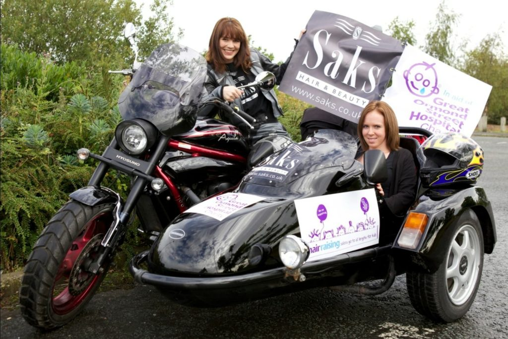 Nikki and Claire at Saks Chester in bike ride for Great Ormond Street