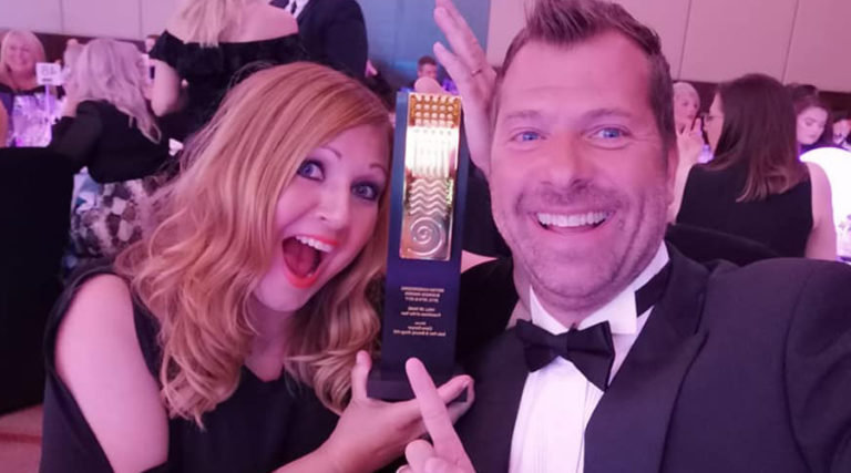 Claire and John Denyer with BHBA award