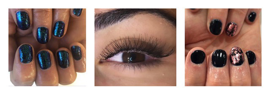 Montage of Saks brows, lashes and nails